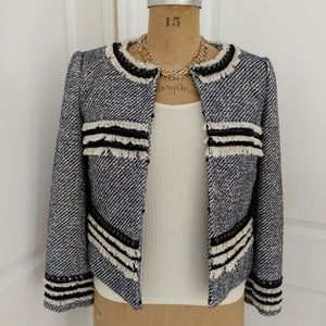 Tory Burch Navy and White Stripe Rosemary Jacket